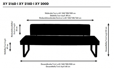 xy 200d sitzbank 200 cm xysto steifensand. Black Bedroom Furniture Sets. Home Design Ideas